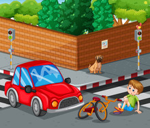 Scene With Car Crashing Bicycl...