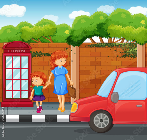 Poster Cars Girl and mother standing on the sidewalk