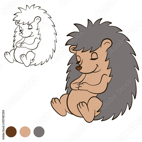 Coloring Page Color Me Hedgehog Little Cute Hedgehog Sits And