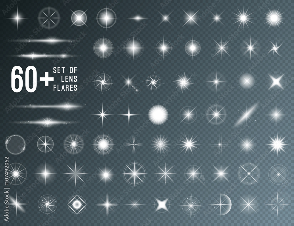 Fototapety, obrazy: Large set of realistic lens flares star lights and glow white elements on transparent background. Vector illustration