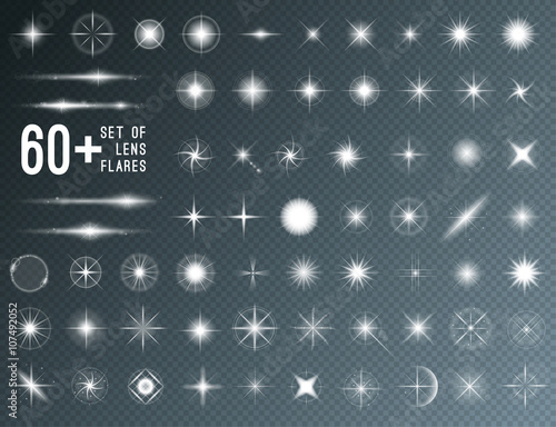 Photo Large set of realistic lens flares star lights and glow white elements on transparent background