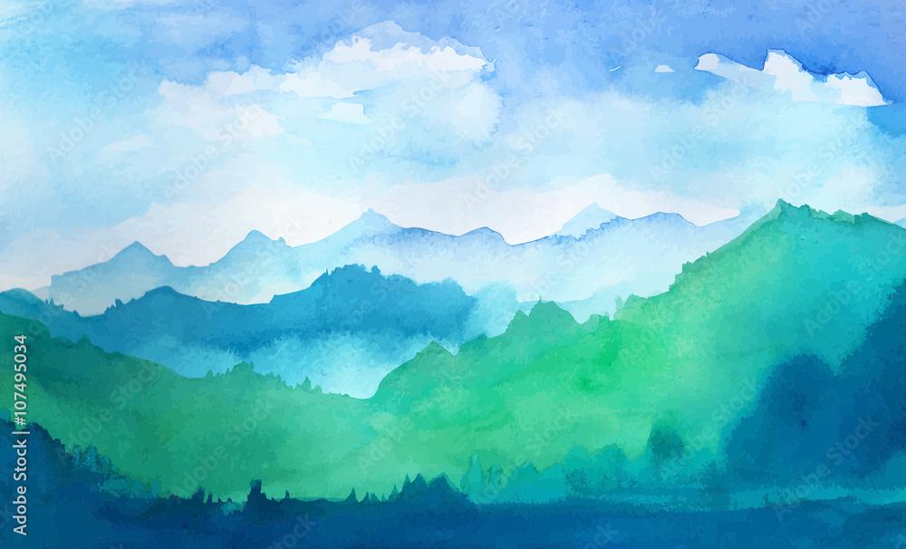 Fototapeta watercolor mountains