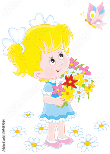 Spoed Foto op Canvas Vogels, bijen Little girl with a bouquet of flowers looking at a flying butterfly