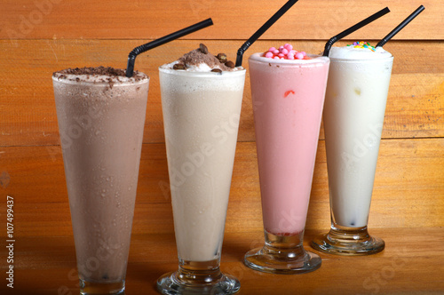 four types of milkshake drink