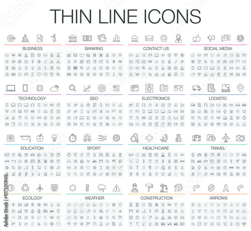 Fotografía  Vector illustration of thin line icons business, banking, contact us, social media, technology, logistic, education, sport, medicine, travel and weather