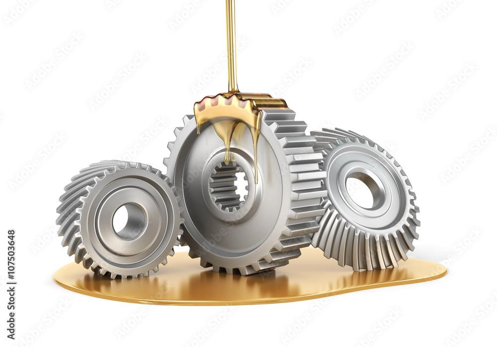Fototapety, obrazy: Oiling Gears. 3d illustration