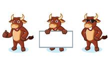 Ox Brown Mascot Happy