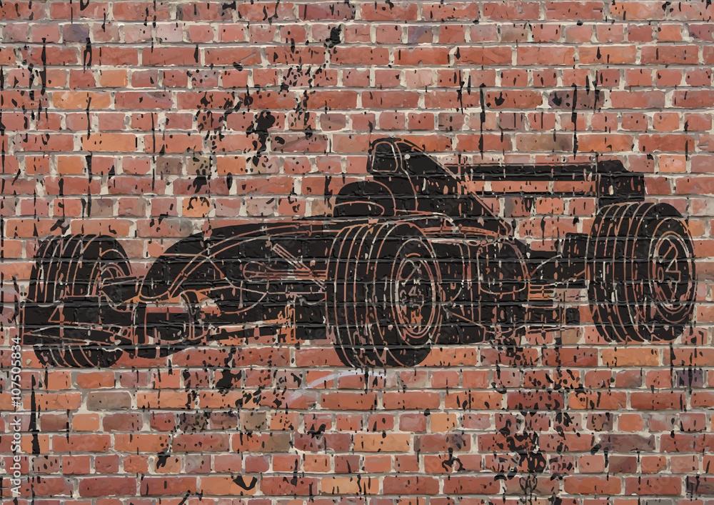 Fotobehang Formule 1.Fotobehang Street Art Voiture De Course Formule 1 Nikkel Art