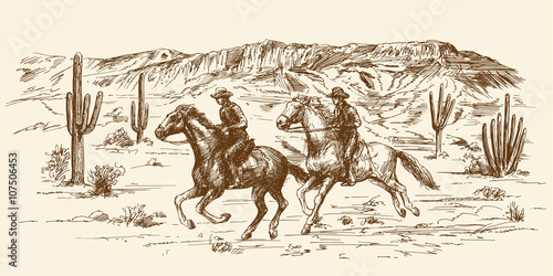 Valokuvatapetti American wild west desert with cowboys - hand drawn illustration