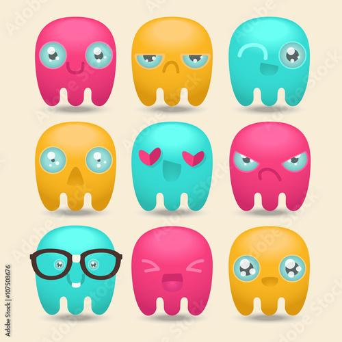 Fotografie, Obraz  Set smiles. Funny jellyfish. Emoji