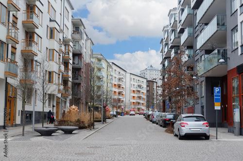 Staande foto Stockholm Stockholm, Sweden - March, 19, 2016: multystoried inhabited buildings in Stockholm, Sweden