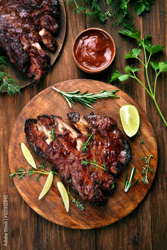 Fotografering  Pork ribs, top view