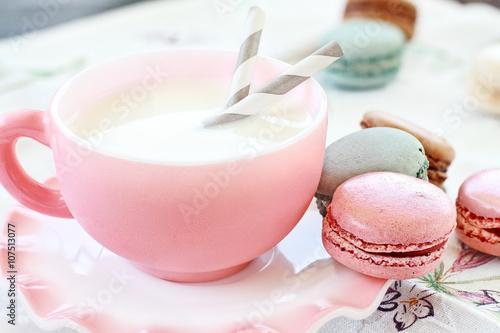 Aluminium Prints Macarons Pink Macarons and Milk with shallow depth of field.