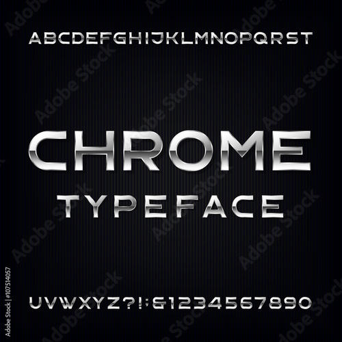Photo  Chrome Alphabet Vector Font