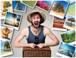 Young, attractive man wtih suitcase ready to travel as tourist on gray background. Collage