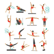Vector Set Of People In Sport Gymnastic Positions. Sportsman Flat Icons Isolated On White Background. Artistic And Rhythmic Gymnast Exercise
