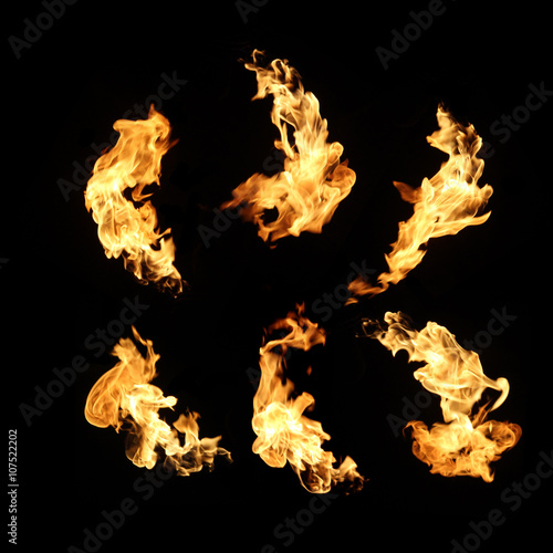 Fire flames collection isolated on black background Canvas Print