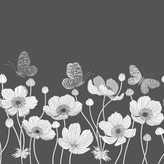 Obraz na Plexiseamless monochrome border with anemone and butterflies