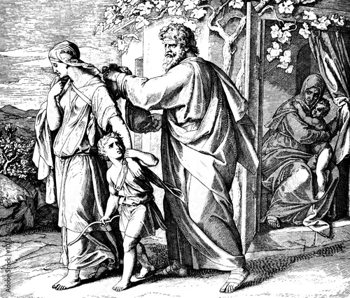 Abraham Sends Ishmael Away 1) Sacred-biblical history of the old and New Testament. two Hundred and forty images Ed. 3. St. Petersburg, 2) 1873. 3) Russia 4) Julius Schnorr von Carolsfeld Fotomurales