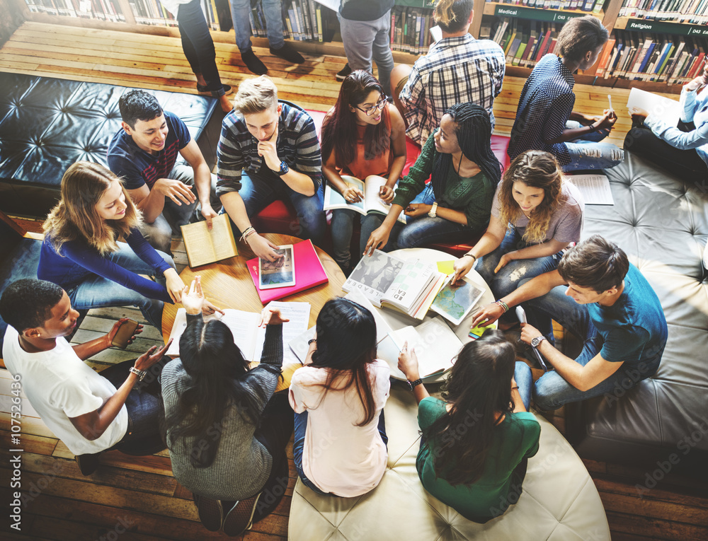 Fototapety, obrazy: Classmate Classroom Sharing International Friend Concept