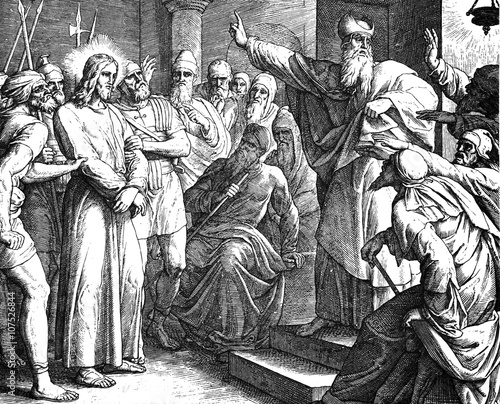 Obraz na plátne Jesus' Trial Before Caiaphas 1) Sacred-biblical history of the old and New Testament
