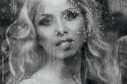 Poster Inspiration painterly Beautiful romantic blonde bride posing near rainy window face cl