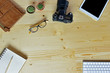 Business accessories on wooden desk