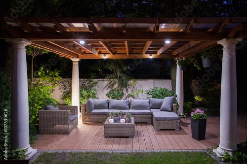 Relaxing area outside of mansion Fototapeta