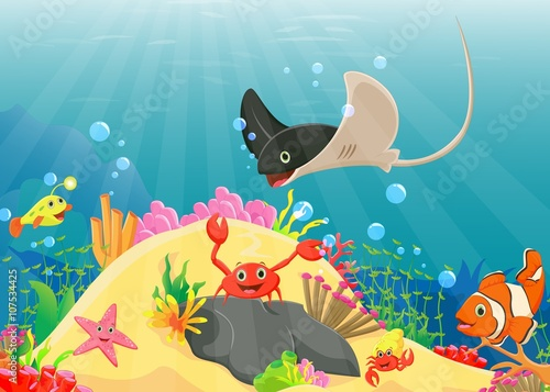 Photo  illustration of Underwater world with reefs and tropical fishes