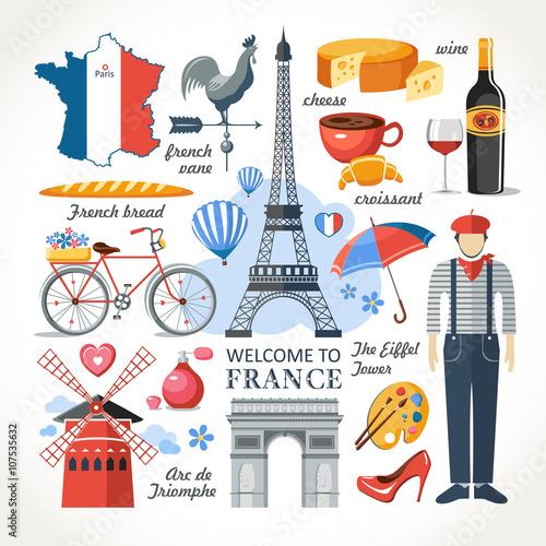 Plagát  welcome to France romance set