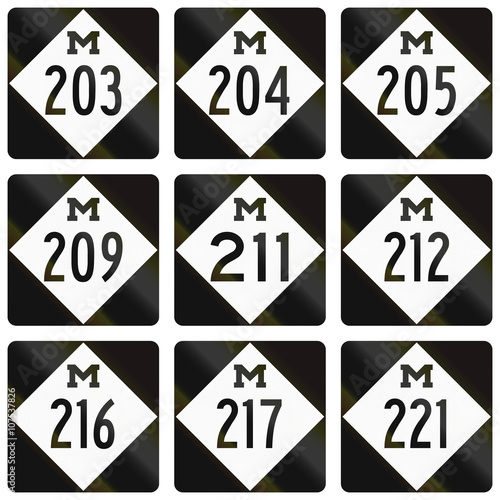 Fotografija  Collection of Michigan Route shields used in the United States