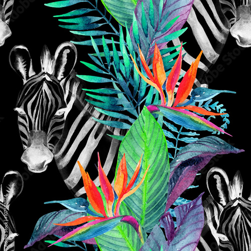 Deurstickers Paradijsvogel Tropical jungle seamless pattern. Floral design with zebra on white background.