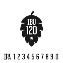 IBU Index Logo. Hop Pine Black Silhouette With Bitterness Mark A
