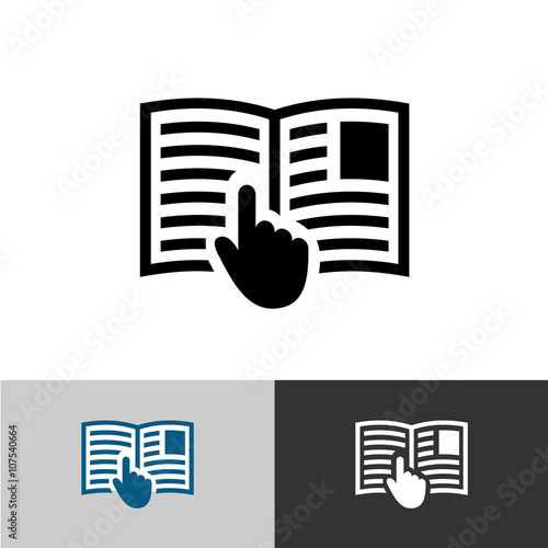 Fotografie, Obraz  Instruction manual icon. Open book pages with text, images and h