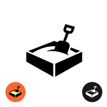 Sandbox Icon. Black Sign With Color And Inverted Versions.