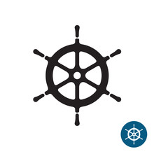 Ship Helm Black Silhouette Icon. Yacht Boat Rudder. Isolated On