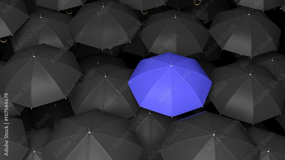 Fototapety, obrazy: 3D rendering of classic large black umbrellas tops with one blue standing out.