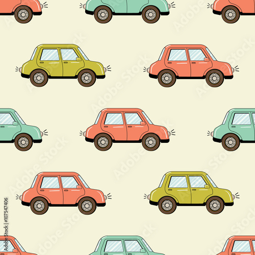 Staande foto Cartoon cars Cartoon style hand drawn car seamless pattern. Colorfull vector illustration