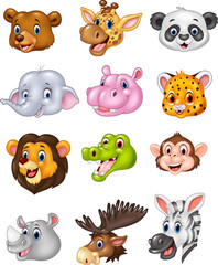 Cartoon wild animal head collection