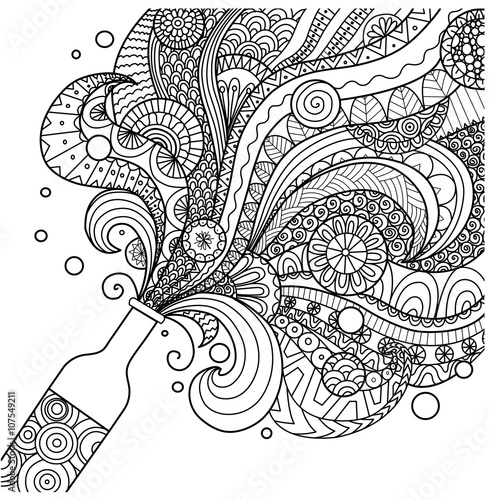 Champagne bottle line art design for coloring book for adult,poster, card and de Tableau sur Toile