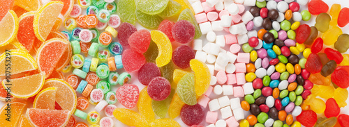 Photo sur Aluminium Confiserie Colorful candies, jelly and marmalade