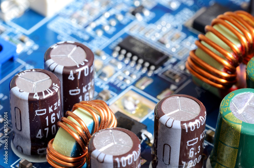 Close-up of inductors, capacitors and chips