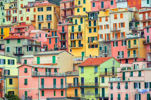 Poster Ligurie Traditional italian colorful houses, Cinque Terre, Italy