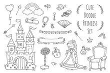Cute Cartoon Princess Collection With Throne, Castle, Jewerly, Crown. Doodle Fairytale Set For Kids. Hand Drawn Vector Illustration Isolated On White. All Objects Are Grouped Separately.