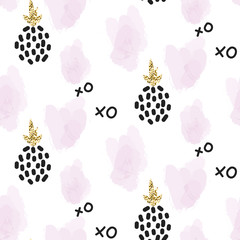 Tapeta Glitter scandinavian xoxo pineapple ornament. Vector gold seamless pattern collection. Modern shimmer details and pink brushstrokes stylish texture.