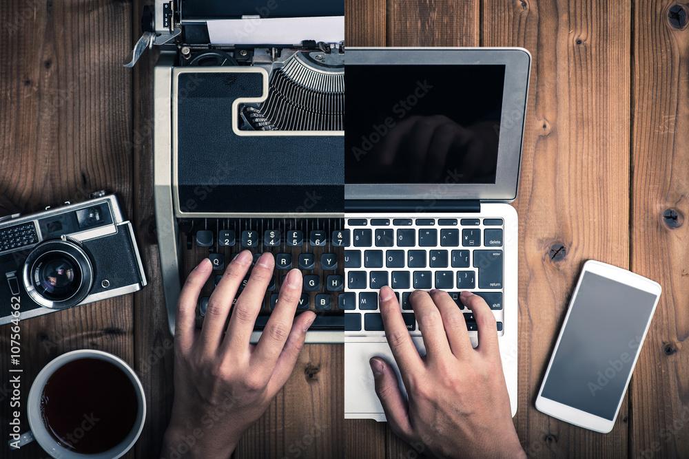 Fototapety, obrazy: タイプライターとノートパソコン,過去と現在,アナログとデジタル,時代,比較