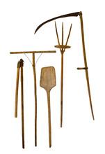 Old Garden Tools Shovel Pitchfork Rake Scythe Isolated On White Background.