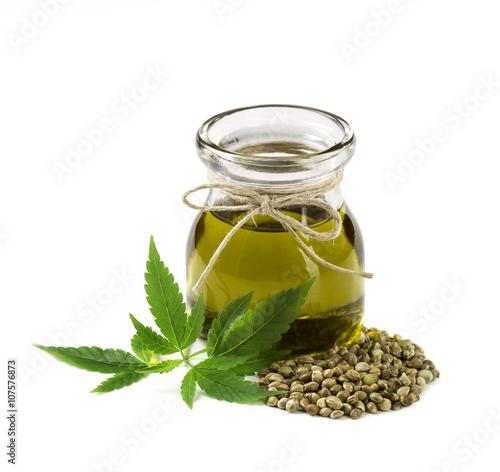 Fototapeta Hemp oil n a glass jar obraz