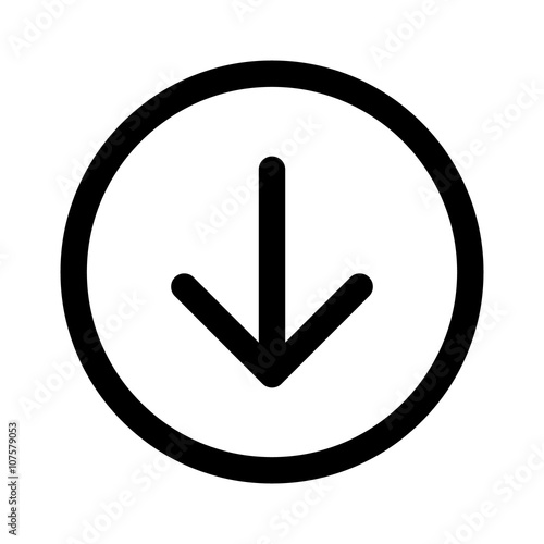 Fototapeta Round down arrow or south directional arrow line art icon for apps and websites obraz