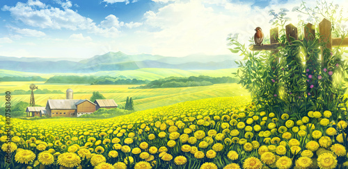 Poster Jaune Summer country landscape with a field of dandelions and farm on the background plan.